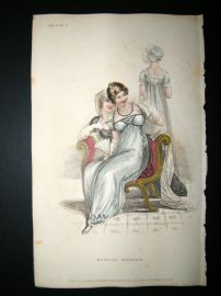 Ackermann 1811 Hand Col Regency Fashion Print. Evening Dresses 5-3